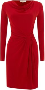 Michael by Michael Kors Red Cowl Neck Dress