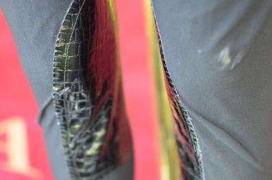 Close up of Snake Skin Knee Patches