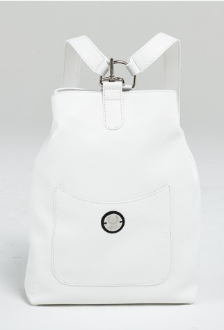 Asmar Equestrian Italian Leather Backpack White