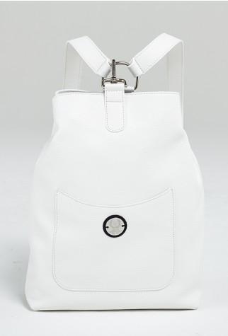 Asmar Equestrian Italian Leather Backpack White