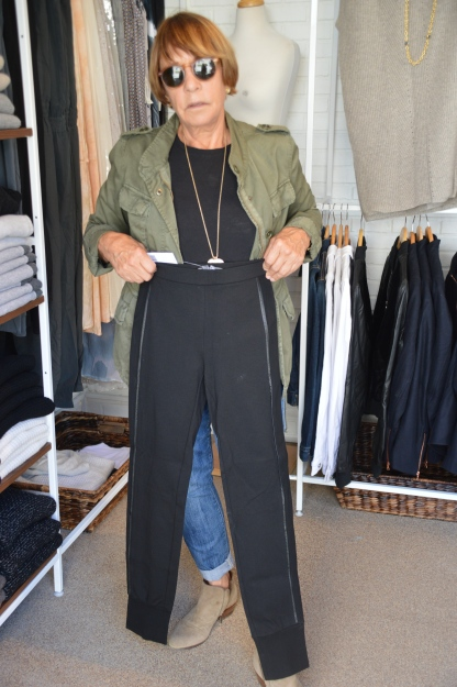 Gretchen modeling the new Vince silhouette - gathered, cuffed-bottom pants