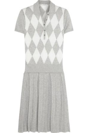 L'Etoile Sport Argyle Knit Cotton Cashmere Blend Polo Dress