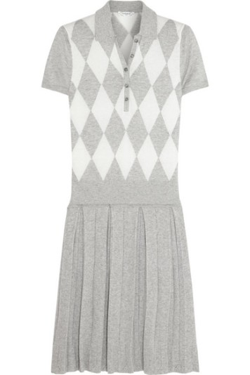 L'Etoile Sport Argyle Knit Cotton Cashmere Blend Polo Dress